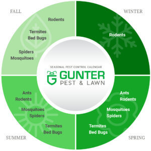Gunter's Pest Control calendar for residential services.