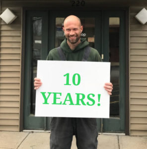 Lawncare tech expert, Steve, celebrating 10 year anniversary at Gunter Pest and Lawn!
