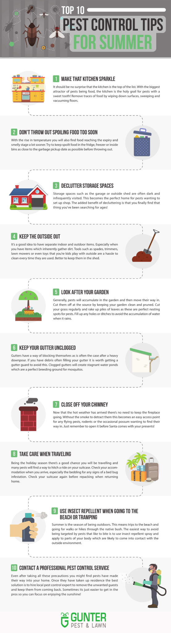 Here are the top 10 pest control tips for summer brought to you by Gunter Pest & Lawn