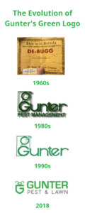 The evolution of Gunter's Green Logo. Part of our eco-friendly pest control initiative.