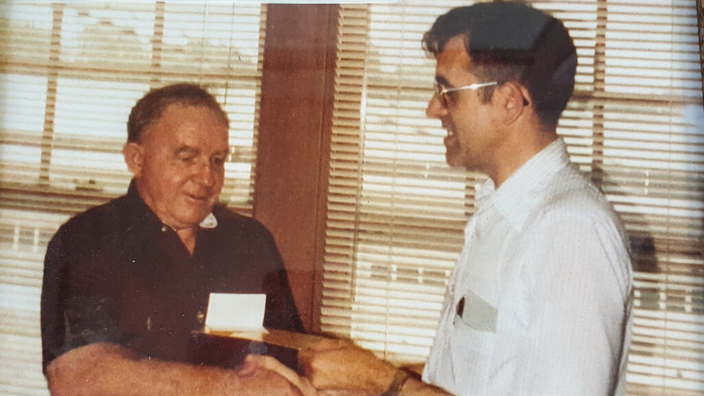 Norman Besheer, Gunter's first employee in 1980 & Harold Slaughter, on the day he officially retired from an 18-year career, working at Gunter since 1962.