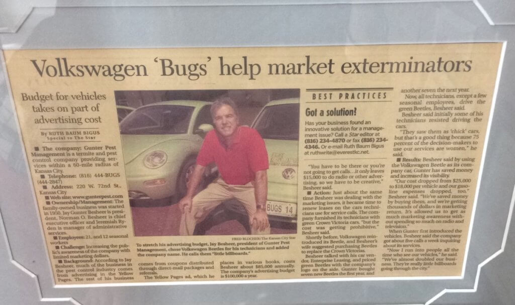 Jay in the news about new Volkswagen bugs. Grow Our Kansas City Pest Control Company.